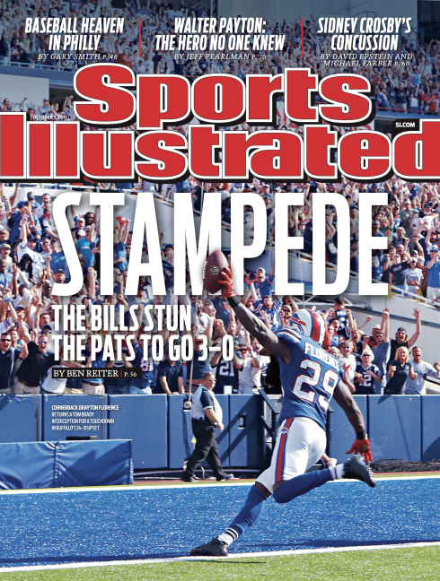 October 3, 2011 Sports Illustrated Cover: Football: Buffalo Bills Buffalo Bills CB Drayton Florence (29) victorious, scoring touchdown after returning interception vs New England Patriots during 4th quarter at Ralph Wilson Stadium. Orchard Park, NY 9/25/2011
